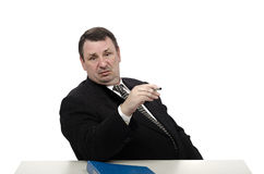 Haughty interviewer looking through Royalty Free Stock Photography