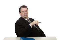 Haughty interviewer staring at jobseeker shoes Stock Images