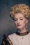 Haughty queen. Portrait of beautiful haughty queen Stock Image