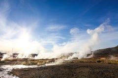 Haukadalur谷,喷泉(geysir)金黄圈子,冰岛 图库摄影