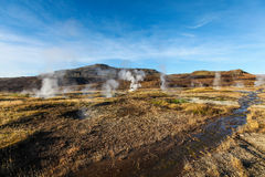 Haukadalur谷,喷泉(geysir)金黄圈子,冰岛 免版税库存图片