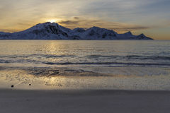 Haukland beach on Lofoten Islands Stock Photos