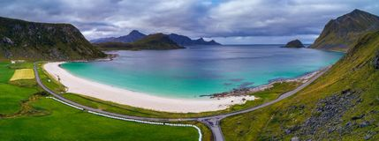 Haukland beach on Lofoten islands in Norway stock image