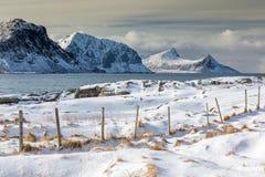 Haukland beach, Lofoten islands, Norway Stock Images