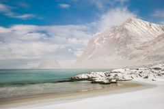 Haukland beach in Lofoten, Norway. Before the storm royalty free stock image