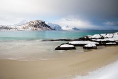 Haukland beach in Lofoten, Norway. Before the storm royalty free stock photo