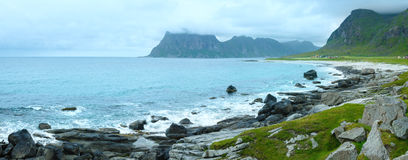 Haukland beach summer panorama (Norway, Lofoten). Royalty Free Stock Photo