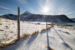 Haukland plaża, Lofoten wyspy, Norwegia Zdjęcia Stock