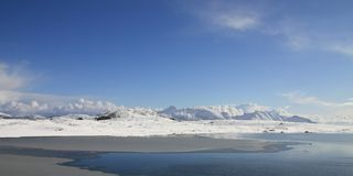 Haukland's arctic landscape. Arctic landscape near Haukland beach, Lofoten islands stock image