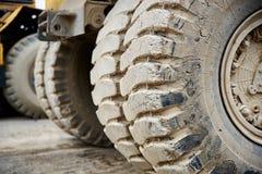 Haul dump truck tire close up Stock Photos