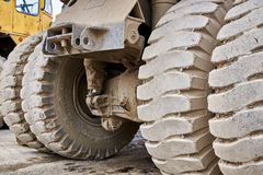Haul dump truck tire close up Royalty Free Stock Image