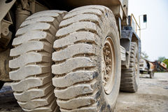 Haul dump truck tire close up Royalty Free Stock Photos