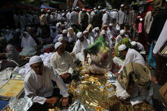 Haul. People of Arab descent gathered in a haul in the city of Solo, Central Java, Indonesia Stock Photos