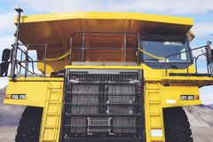 Haul truck in the construction site. Image of haul truck with yellow color in the construction site royalty free stock images
