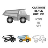 Haul truck icon in cartoon style. Isolated on white background. Mine symbol vector illustration Royalty Free Stock Image