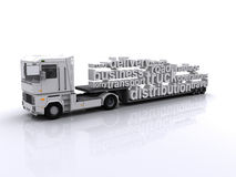 Haulage Distribution Tag Cloud. Lorry with tag cloud load Royalty Free Stock Photo