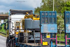 Haulage trailer truck on uk motorway in fast motion.  royalty free stock photography