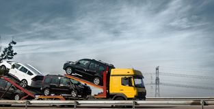 Haulaway loaded passenger cars. Chateau-Thierry, France - September 21, 2017: haulaway loaded passenger cars, transportation of cars, car transporter, car Stock Photography