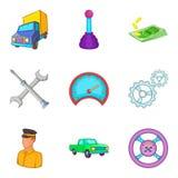 Hauler icons set, cartoon style. Hauler icons set. Cartoon set of 9 hauler vector icons for web isolated on white background Stock Photo