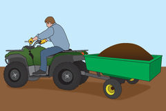 Hauling A Load. Man on ATV with attached trailer is hauling a load of dirt stock illustration