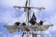 Hauling up the sail Royalty Free Stock Photography
