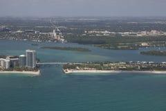Haulover入口佛罗里达鸟瞰图  库存图片