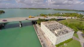 Haulover Bridge to Biscayne Bay aerial video stock footage