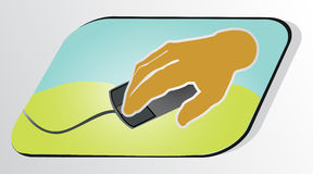 Hauman hand with pc mouse. Human hand with pc mouse in gray background Stock Photo