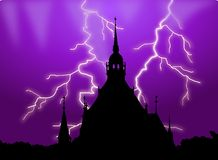 Haunted building silhouette with lightening Royalty Free Stock Photos