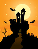 Haunted Castle. On a orange background Royalty Free Stock Image