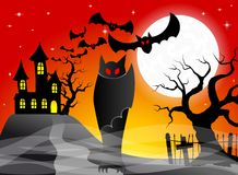 Haunted castle with bats Royalty Free Stock Image