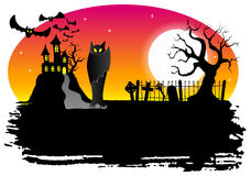 Haunted castle with bats Stock Images
