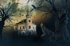 Haunted Castle with Crows and Horror Scene. Royalty Free Stock Image