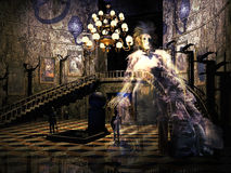 Haunted castle. Entrance room of a castle with stairs, a big lamp, the armors of two knights, and some paintings of which one of them seems to represent a women Stock Images
