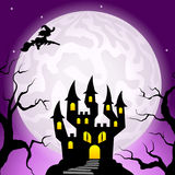 Haunted castle in a full moon night Royalty Free Stock Photos