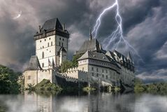 Haunted castle Karlstejn in storm Royalty Free Stock Photos