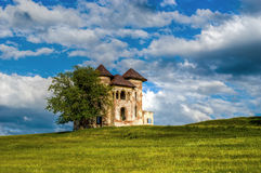 Haunted castle. Romanian castle on a green field Royalty Free Stock Image