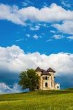 Haunted castle. Romanian castle on a green field Stock Image