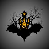 Haunted castle in scary Halloween night. Vector illustration of haunted castle in scary Halloween night Stock Images