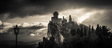 Haunted castle in the sky royalty free stock photos