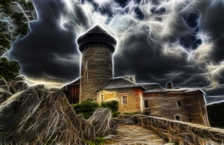 Haunted castle in the storm. Drawing of the castle in the storm Stock Image