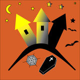 Haunted castle. Tomb beneath, bats and magical moonshine, halloween Royalty Free Stock Images