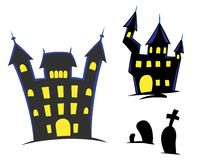 Haunted Castles & Gravestones. Halloween icons set including haunted castles and gravestones Vector Illustration