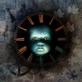 Haunted Childhood. Haunting child-like face emerging from shadow background surrounded by clock-face numerals, chess pieces, autumn leaves, jigsaw fragments Royalty Free Stock Images