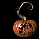 Haunted. Crazy expressions and characters carved on a Halloween pumpkin Stock Image