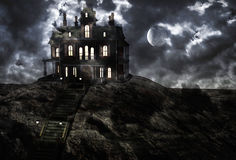 Haunted creepy house in moolight Royalty Free Stock Image