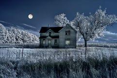 Haunted Farmhouse And Full Moo Stock Photography
