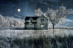 Haunted Farmhouse and moon Royalty Free Stock Photography