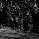 Haunted Forest - Black and White. Haunted Forest - a forest of twisted, disturbed, tormented and evil trees. Black and white with fiery eyes. Happy Halloween royalty free illustration