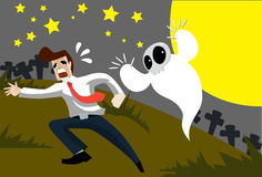 The Haunted Ghost. Image of a ghost who is haunting a man on Halloween night Stock Photos